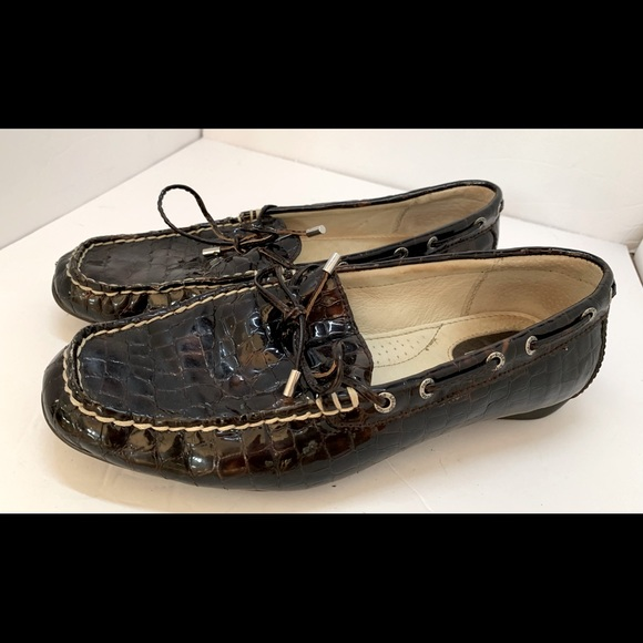 Sperry Top Siders Patent Leather Brown sz 7w